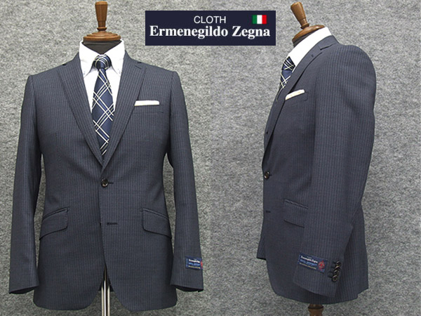 春夏物 藍系縞 [Ermenegildo Zegna] ゼニア COOL EFFECT使用 スタイリッシュ2釦スーツ [YA体][AB体] EZS72 ロゴ入り裏地