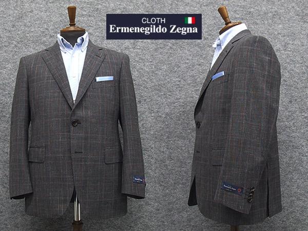 春夏物ジャケット [Ermenegildo Zegna]ゼニア生地 CROSS-PLY使用  [AB体][BB体] ベーシック2釦 グレー系大格子 アダルトジャケット EZ703