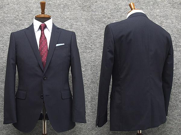 春夏物 スタイリッシュ2釦スーツ 紺系 ストライプ [YA体][A体] 背抜き裏地 メンズスーツ F161244