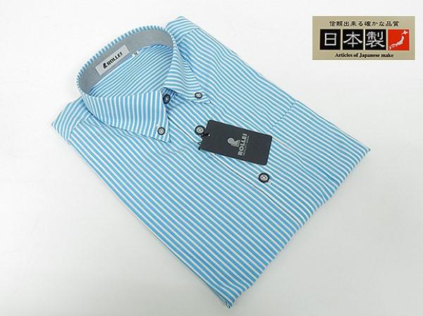 アダルトカジュアルシャツ [ROLLEI] 日本製 長袖 白×青色 ストライプ 綿100% デザインシャツ ROL207
