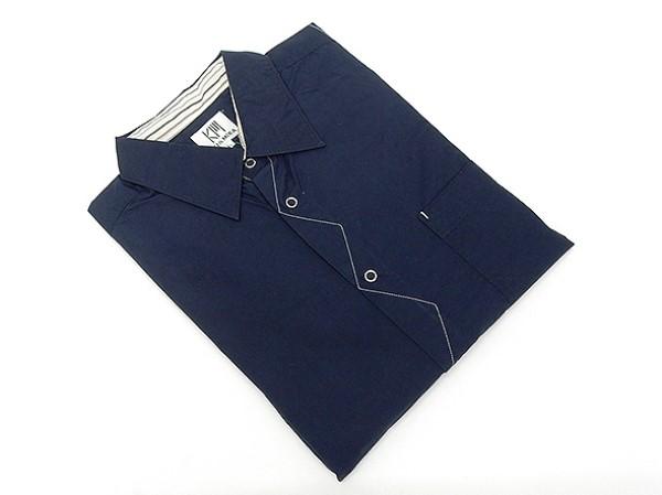 アダルトカジュアルシャツ [ROLLEI] 日本製 長袖 紺系 綿100% デザインシャツ ROL212