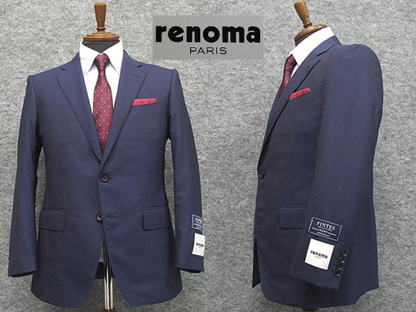 [renoma] レノマPARIS 春夏物 イタリー製生地[FINTES] NANO撥水 ベーシック2釦シングルスーツ 青紺系ストライプ[AB体][BB体]