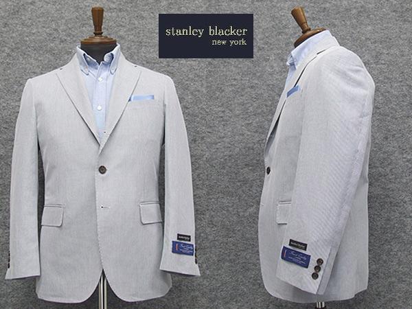 春夏物 [STANLEY BLACKER] スタンリーブラッカー 3釦段返りシングルジャケット コードレーン縞 [A体][AB体]