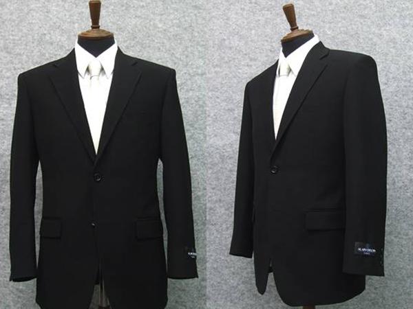 [ALAIN DELON]アランドロン 通年物 シングル2釦ベーシックフォーマルスーツ [E体] 1タック 超黒 アジャスター付礼服