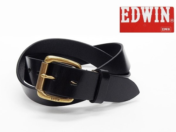 〓EDWIN〓エドウイン 1枚革 牛革ベルト ◆黒◆ 3.3cm巾 日本製 メンズベルト ED1034-BK