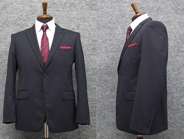 2パンツ スタイリッシュ2釦スーツ 紺系 ストライプ [A体][BB体] 秋冬物 総裏地 メンズスーツ GRA6161-88