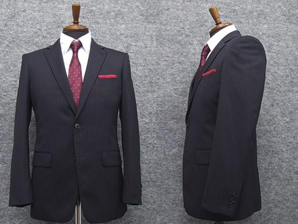 2パンツ スタイリッシュ2釦スーツ 紺系 ストライプ [A体][AB体] 秋冬物 総裏地 メンズスーツ GRA6162-88