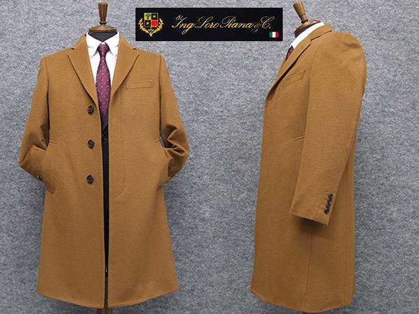 秋冬物 日本製 [ロロピアーナ] カシミヤ100% シングルチェスターコート [YA体~AB体]対応 スタイリッシュタイプ キャメル メンズ LO-coat44
