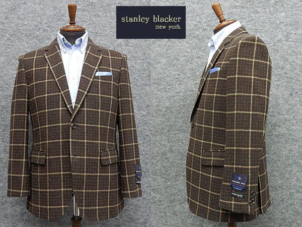 秋冬物[STANLEY BLACKER]スタンリーブラッカー ツイード ベーシック2釦シングルジャケット 緑茶系 [AB体][BB体] メンズ SBK5301-78