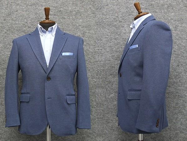 ニット素材 セミスタイリッシュジャケット 青系 シングル2釦 [AB体] 秋冬物 WE24