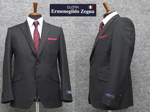 秋冬物 [Ermenegildo Zegna] ゼニア生地 Heritage使用 スタイリッシュ2釦スーツ [YA体][AB体] 濃鼠縞 ロゴ入り裏地 メンズ スーツ EZS33