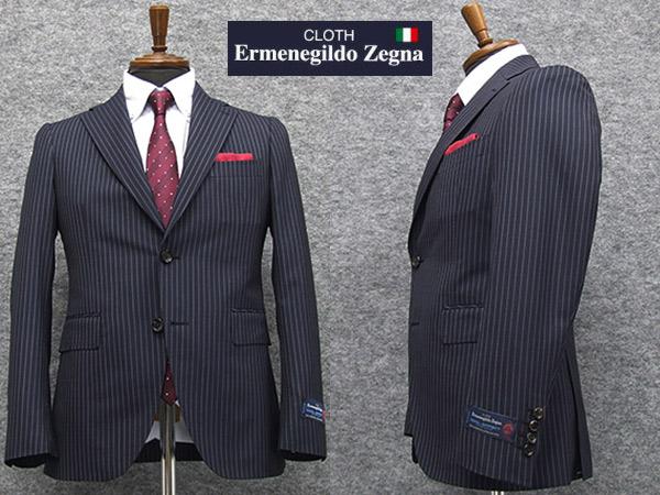 春夏物 濃紺縞 [Ermenegildo Zegna] ゼニア COOL EFFECT使用 トレンドスタイル2釦スーツ [YA体][A体] EZD53