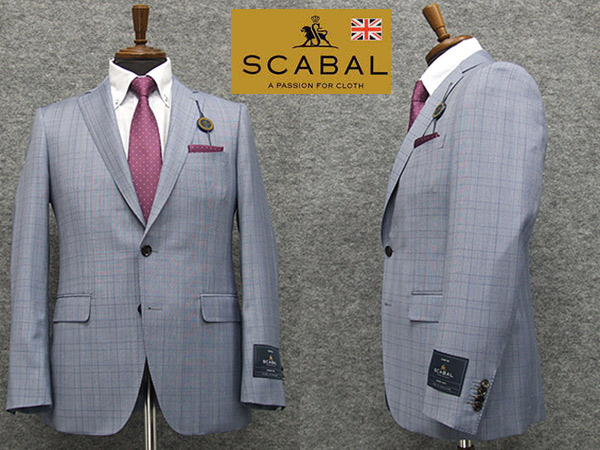 通年~春夏物 [Scabal] スキャバル Super140sオーダー生地使用 スタイリッシュ2釦シングルスーツ 薄青/格子 日本製 [YA体][A体][AB体] scb103