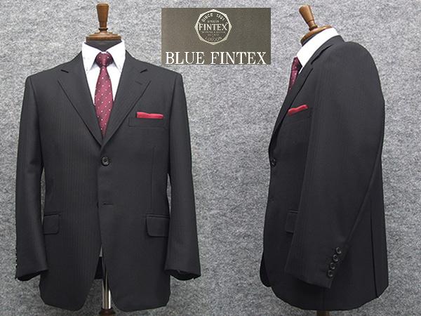 秋冬物 [FINTEX] BLUE FINTEXオーダー生地使用 ベーシック2釦シングルスーツ 黒/杉綾 [E体]メンズ スーツ FNT48300