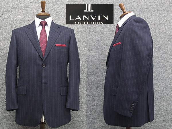 秋冬物 [LANVIN] ランバンオーダー生地使用 ベーシック2釦シングルスーツ 青紺ストライプ [BB体]メンズ スーツ LV48308