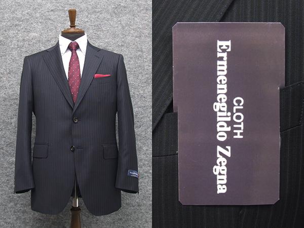 秋冬物 [Ermenegildo Zegna]ゼニア生地 TRAVELLER使用 ベーシック2釦スーツ [AB体][BB体] 紺縞 ロゴ入り裏地 メンズスーツ EZR25