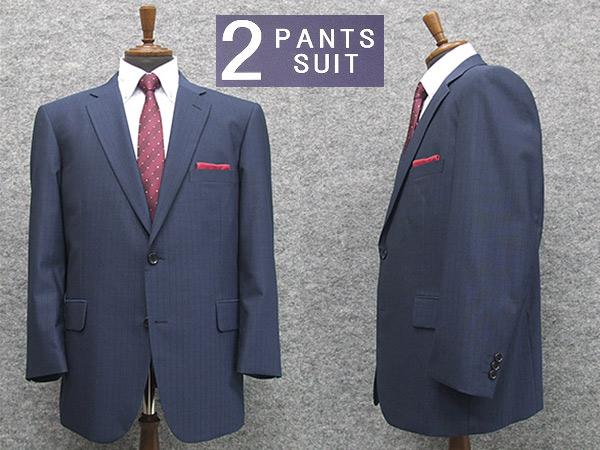 通年物 ビッグサイズ 2パンツ ベーシック2釦シングルスーツ 青藍系ストライプ [E体] メンズスーツ SE68124-E