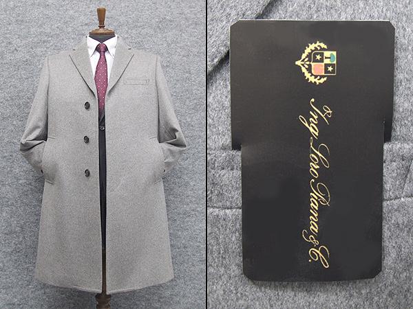 秋冬物 日本製 [ロロピアーナ] カシミヤ100% シングルチェスターコート [YA体~AB体]対応 スタイリッシュタイプ 薄グレー メンズ LO-coat38
