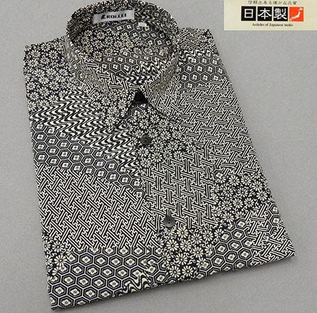 アダルトカジュアルシャツ [ROLLEI] 日本製 長袖 黒×ベージュ 和柄つぎはぎ デザインシャツ ROL34252-1