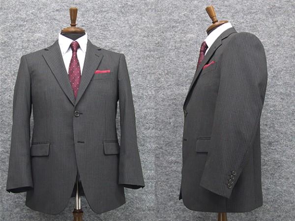 秋冬物 2パンツ付 シングル2釦ベーシックスーツ グレー系ストライプ [BB体] メンズスーツ TDH7007-2P