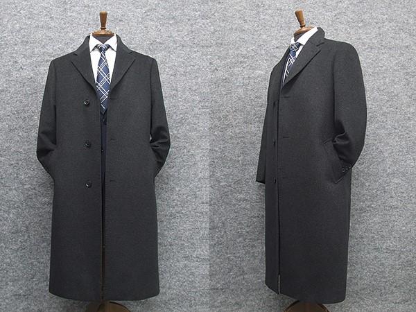 カシミヤ混 シングルチェスターロングコート ウールコート レギュラーフィットタイプ 濃グレー メンズ NS22186-18