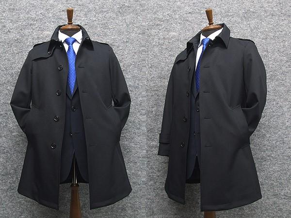 トレンチ調ビジネスコート ライナー付き [A体][AB体]対応 5釦コート 黒紺/無地 NS6117603