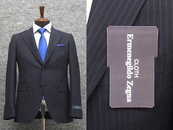 春夏物 紺/縞 [Ermenegildo Zegna] ゼニア TOROPICAL使用 トレンドスタイル2釦スーツ [A体][AB体] EZD65