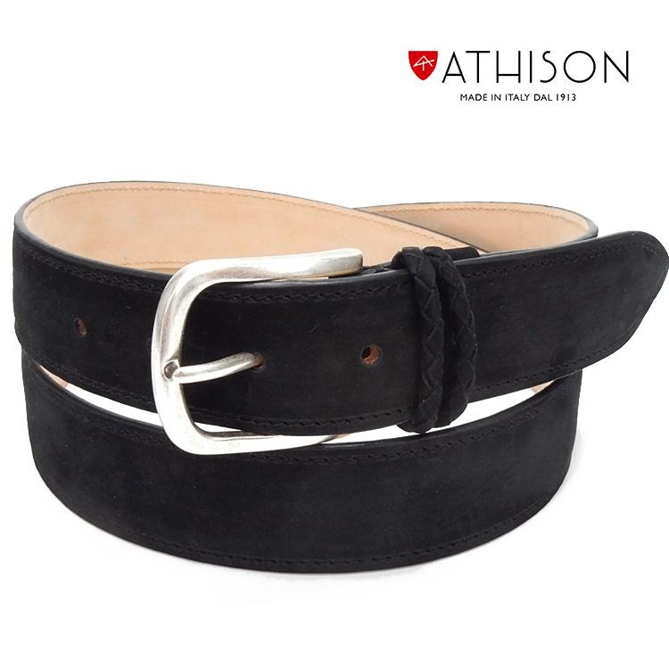 〓ATHISON〓イタリー製ベルト ヌバック/牛革 ◆黒◆ メンズベルト ゴルフベルト 110cm対応 ATS-01