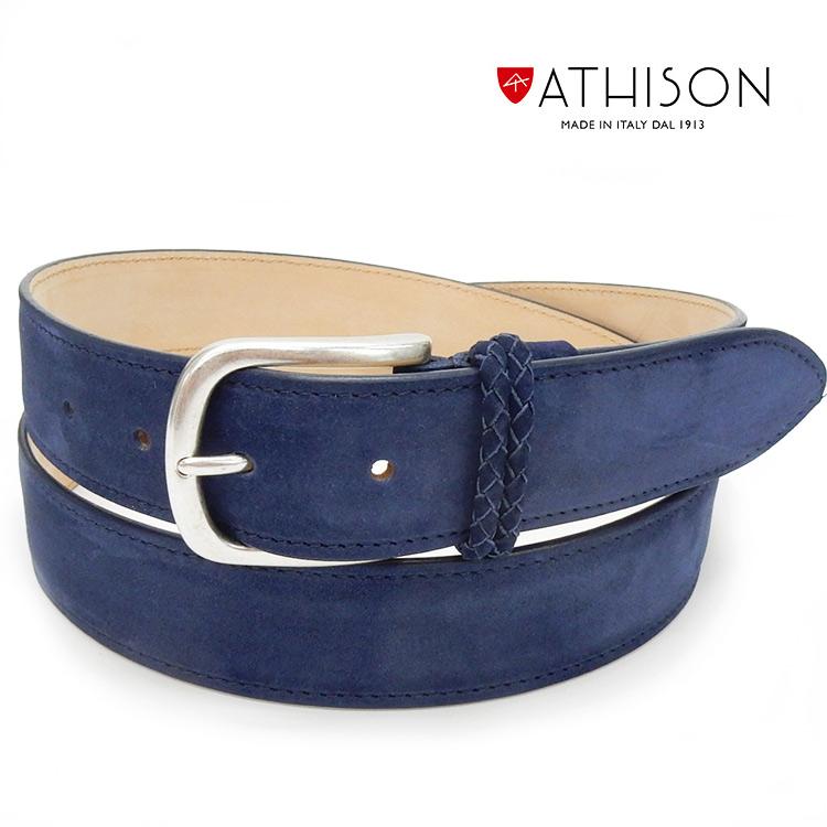 〓ATHISON〓イタリー製ベルト ヌバック/牛革 ◆紺◆ メンズベルト ゴルフベルト 110cm対応 ATS-02