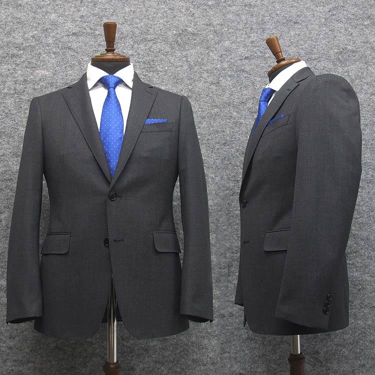 スタイリッシュ2釦スーツ ウール100% ストレッチ生地 グレー系/無地調 [YA体] 秋冬物 総裏地 メンズスーツ A10563