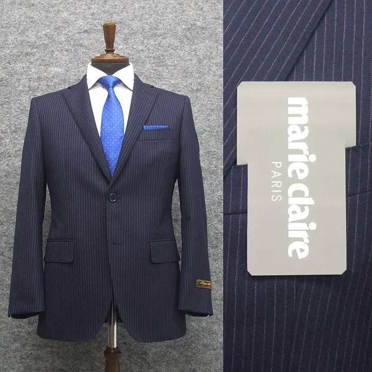 [marie claire PARIS] マリクレール super100sミルド生地 スタイリッシュ シングル2釦スーツ 紫紺/ストライプ [YA体][A体][AB体] marie203