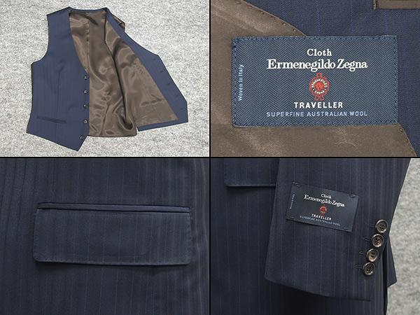 通年物 3ピース Ermenegildo Zegnaゼニア TRAVELLER使用 ベーシック2釦スーツ 濃紺 ストライプAB体日本製 EZR J33qzSUpMV