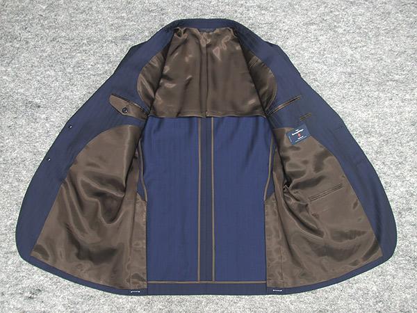 通年物 3ピース Ermenegildo Zegnaゼニア TRAVELLER使用 ベーシック2釦スーツ 濃紺 ストライプAB体日本製 EZR J33TFclK1J