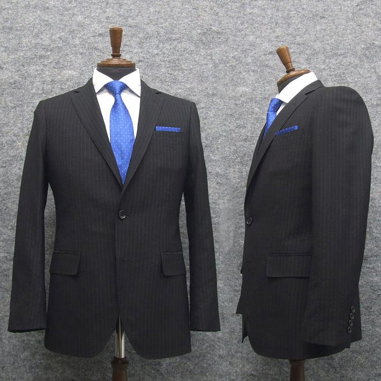 訳あり スタイリッシュ2釦シングルスーツ 黒 ストライプ シアサッカー 軽量素材 限定モデル 国際ブランド YA体 A体 AB体 MJ115 通年物 BB体 メンズスーツ