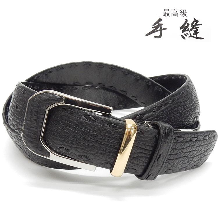 〓天然皮革〓シャークスキン 鮫革 牛裏 手縫い メンズ高級デザインベルト 黒 日本製 3.5cm巾 BT-SK01