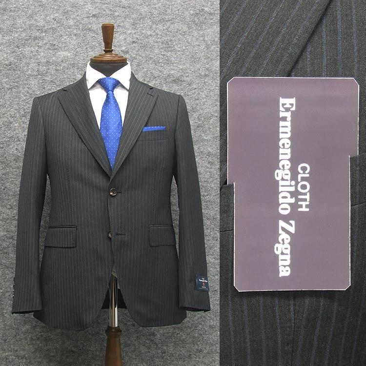 2020春夏物 濃グレー/縞 [Ermenegildo Zegna] ゼニア TROPICAL使用 トレンドスタイル2釦スーツ [A体][AB体] EZD71