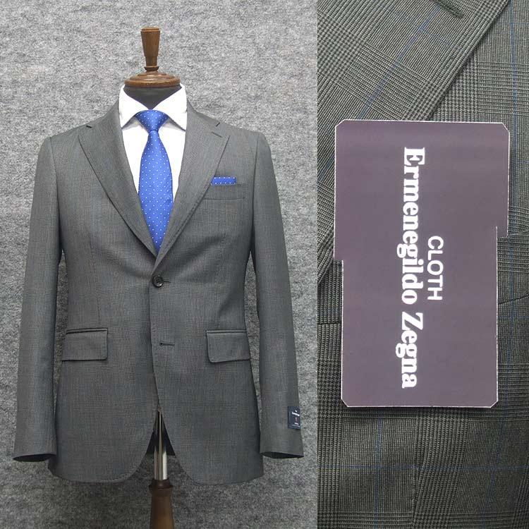 2020春夏物 グレー系/チェック [Ermenegildo Zegna] ゼニア TROPICAL使用 トレンドスタイル2釦スーツ [A体][AB体] EZD74