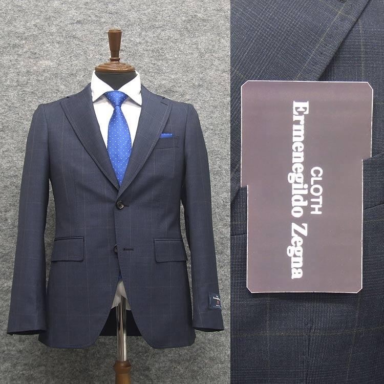 2020春夏物 藍紺/チェック [Ermenegildo Zegna] ゼニア TROPICAL使用 トレンドスタイル2釦スーツ [YA体][A体] EZD75