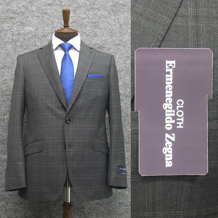 2020春夏物 グレー系大格子 [Ermenegildo Zegna] ゼニア TROPICAL使用 スタイリッシュ2釦スーツ [A体][AB体] ロゴ入りジャガード裏地 EZS82