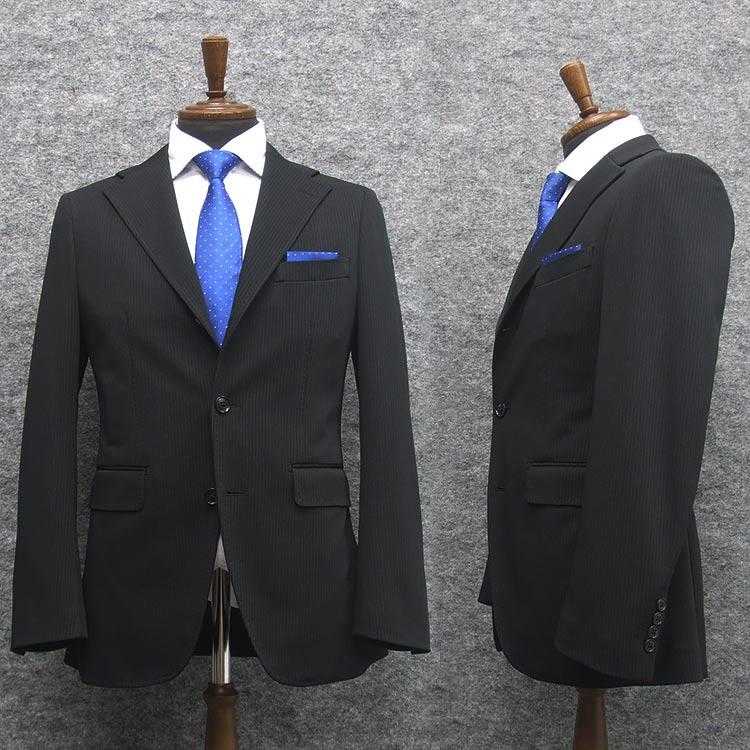 ニュートレンドスーツ 2タックパンツ ニット素材 スタイリッシュ段返り3釦シングルスーツ 濃紺/ストライプ 通年物[Y体][A体][AB体][BE体] メンズ  J8701