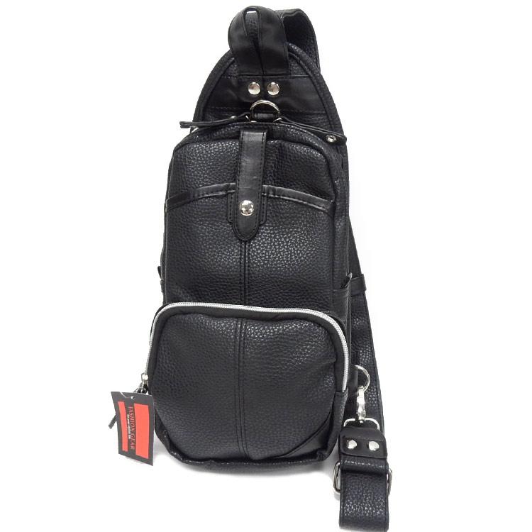 ボディバッグ ワンショルダーバッグ 黒 フェイクレザー お買い得品 ショルダーバッグ 高品質 BB-004BK 斜めがけ メンズ