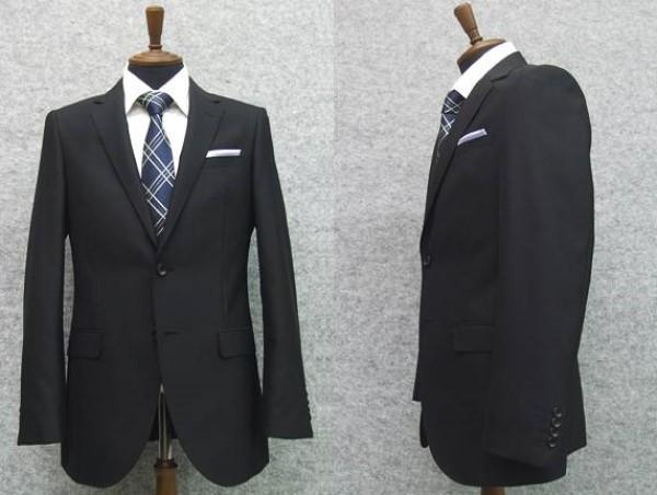通年物 スタイリッシュ2釦シングルスーツ 黒系 無地 長身サイズ [YA体][A体][BB体] 就活 メンズスーツ