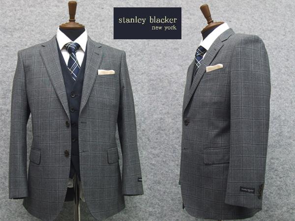 2015[STANLEY BLACKER] スタンリーブラッカースリーピースベーシック2釦シングルスーツグレー系窓格子[A体]3ピース