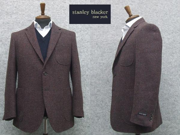 秋冬物 [STANLEY BLACKER] スタンリーブラッカー ホームスパン風 ベーシック段返り3釦シングルジャケット あずき系 [AB体][BB体]