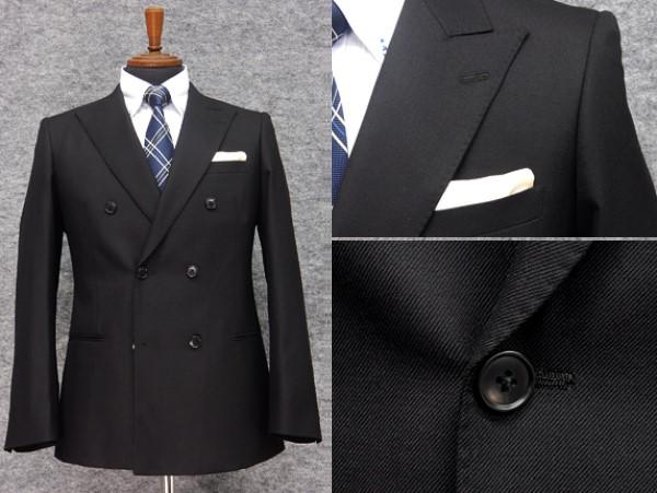 秋冬物 ダブルスーツ 黒 [YA体][A体] スタイリッシュ6釦×2掛 メンズブラックスーツ