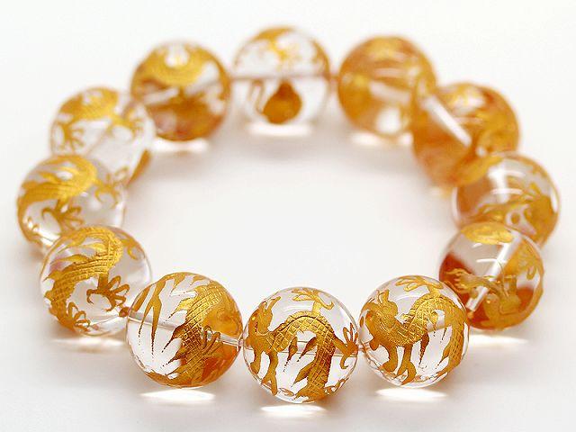 金彫 五本爪皇帝龍 水晶 20mm 数珠 ブレスレット 天然石 メンズ