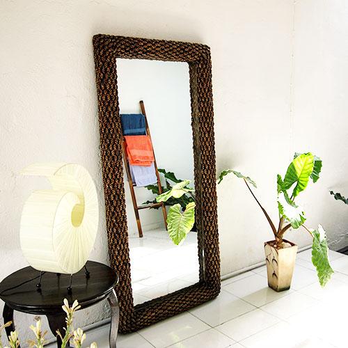 ウォーターヒヤシンスミラー 170×83/鏡 ミラー 姿見 全身 壁掛け 全身鏡 全身姿見 ワイド ワイドミラー 角型 玄関 リビング 廊下 ウォーターヒヤシンス おしゃれ ナチュラル モダン インテリア アジアンテイスト バリ ハワイアン リゾート サロン 美容室