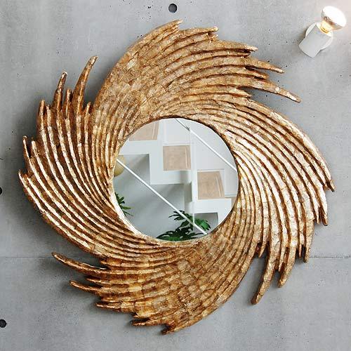 ◆ 셸 거울 토네이도 모던 아시안 인테리어 벽 리조트 아시안 테 이스트 발리 하와이안 풍의