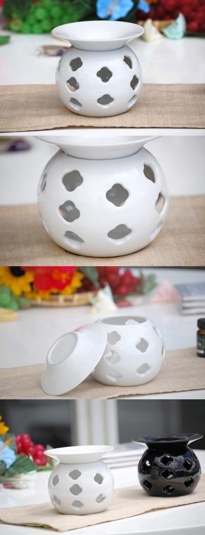 现代亚洲室内设计陶瓷陶器亚洲巴厘岛 ◆ 芳香油燃烧器白色光泽 ◆ 礼品盒 ♪ ◆ 无意识屏息陶瓷 (kubalaseramick)