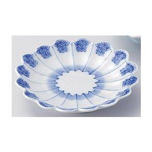 与山窯 1年保証 染付七宝文 菊花型手塩皿 有田焼 プレゼント 5個組
